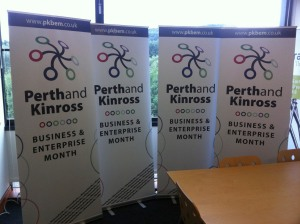 Four Perth and Kinross Business and Enterprise Month Pop up banners